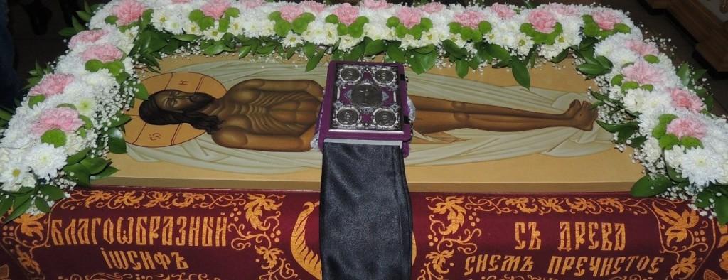 Утреня с чином погребения святой Плащаницы Господа нашего Иисуса Христа в в Покровском кафедральном соборе.
