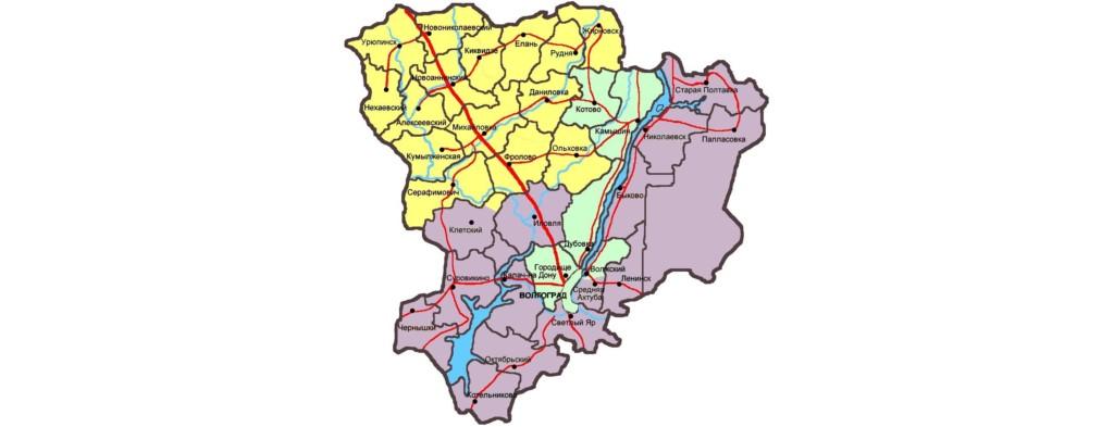Границы Урюпинской и Новоаннинской епархи на карте Волгоградской области
