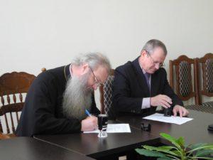 Подписание соглашения о взаимодействии между Урюпинской автошколой ДОСААФ и приходом Покровского кафедрального собора