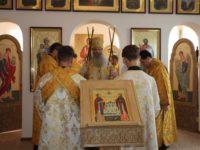 Служение епископа Елисея в день памяти благоверных князя Петра и княгини Февронии.